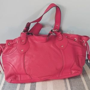 Large Red Leather Satchel Bag